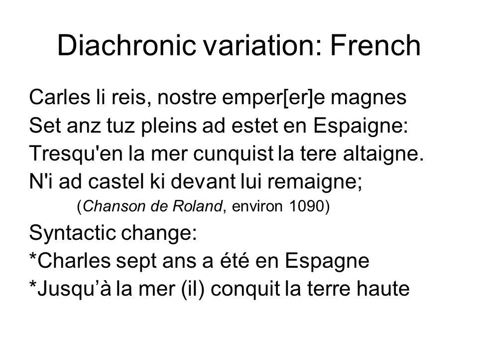 Diachronic variation: French Carles li reis, nostre emper[er]e magnes Set anz tuz pleins ad estet en Espaigne: Tresqu'en la mer cunquist la tere altai