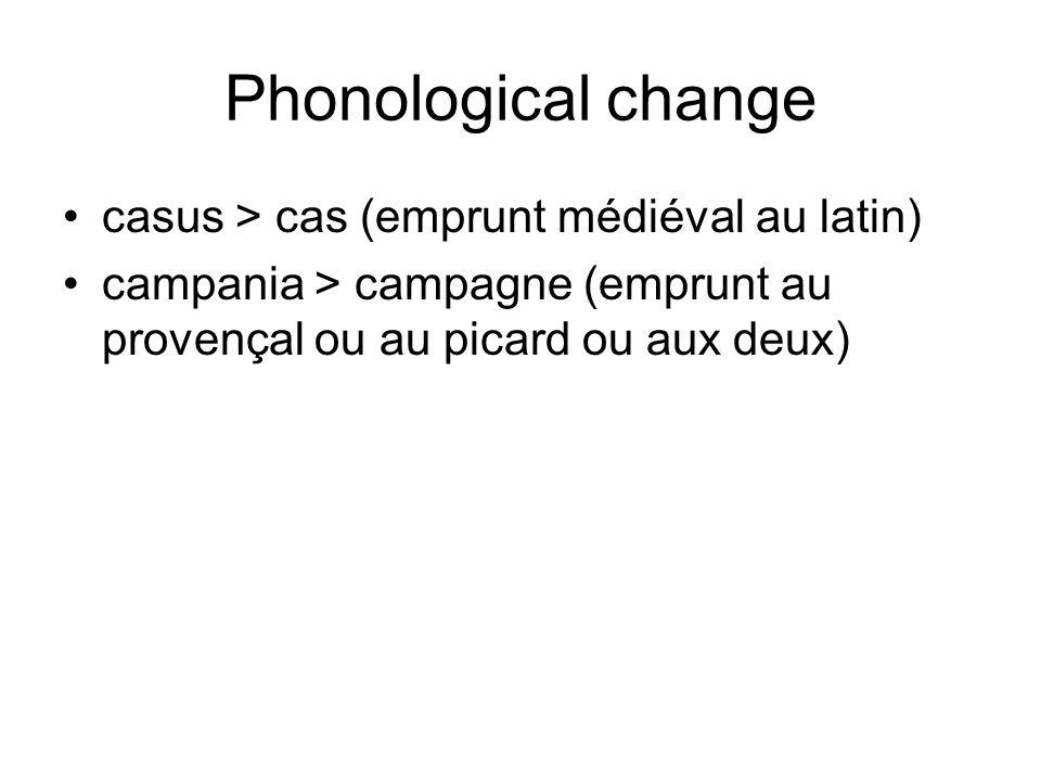 Phonological change casus > cas (emprunt médiéval au latin) campania > campagne (emprunt au provençal ou au picard ou aux deux)