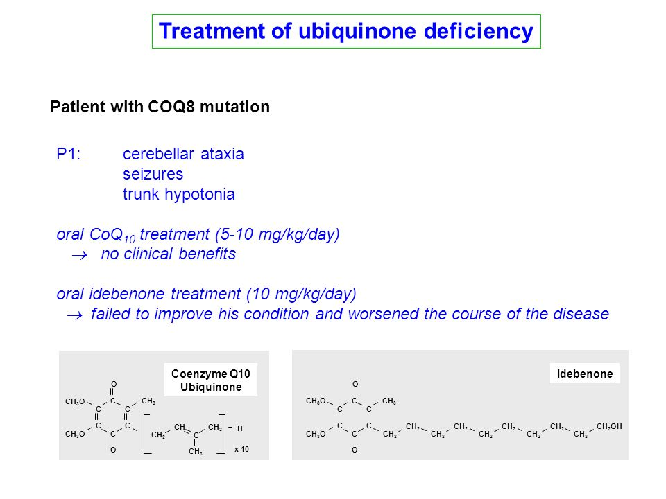 Treatment of ubiquinone deficiency Patient with COQ8 mutation P1:cerebellar ataxia seizures trunk hypotonia oral CoQ 10 treatment (5-10 mg/kg/day) no