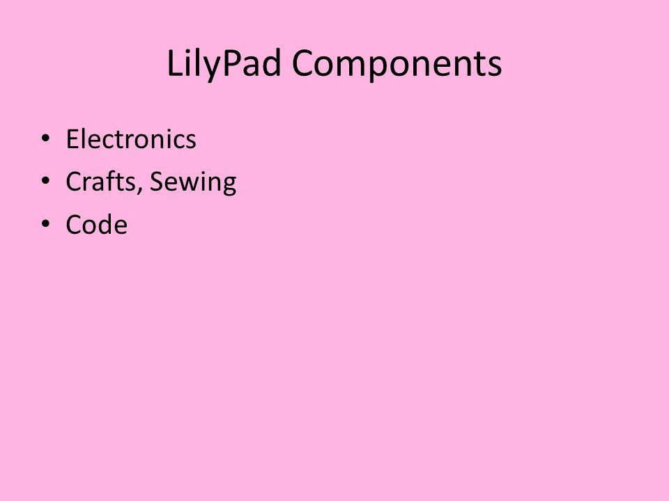 LilyPad Components Electronics Crafts, Sewing Code