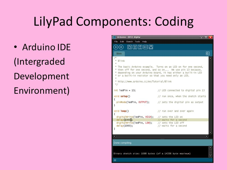 LilyPad Components: Coding Arduino IDE (Intergraded Development Environment)