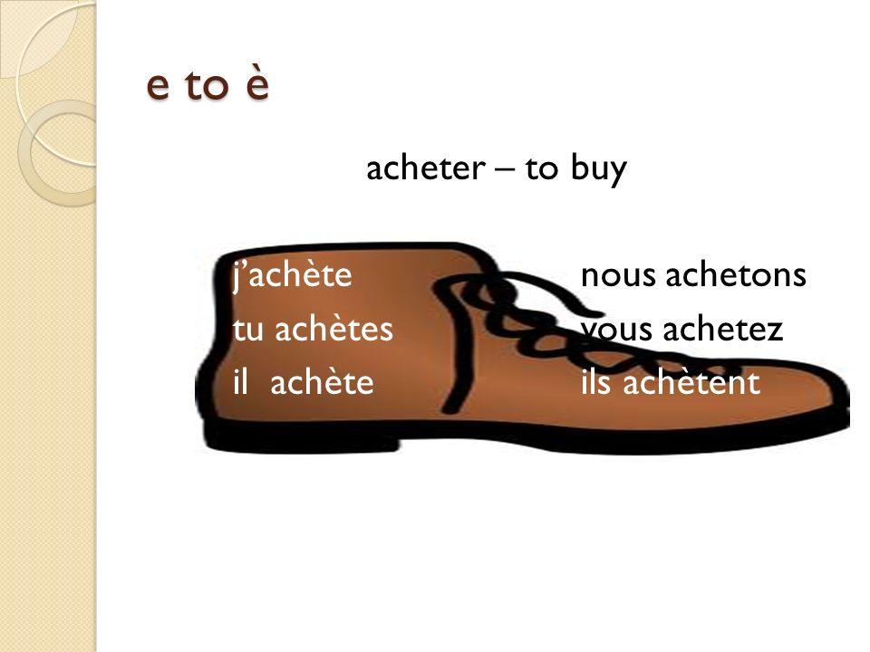 e to è acheter – to buy jachètenous achetons tu achètesvous achetez il achèteils achètent