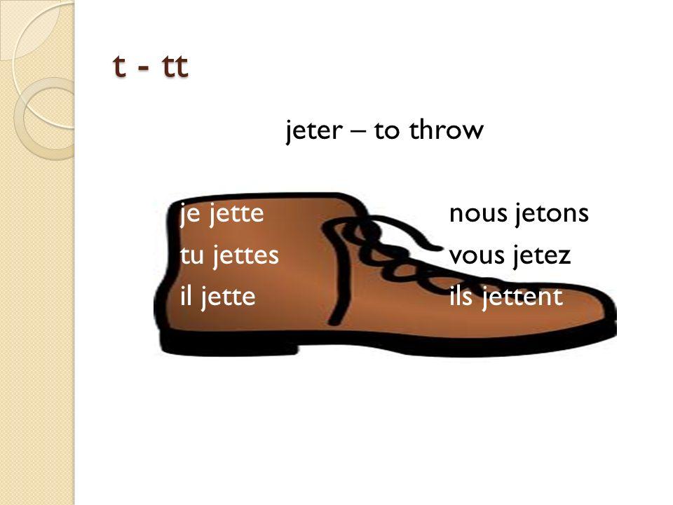 t - tt jeter – to throw je jettenous jetons tu jettesvous jetez il jetteils jettent
