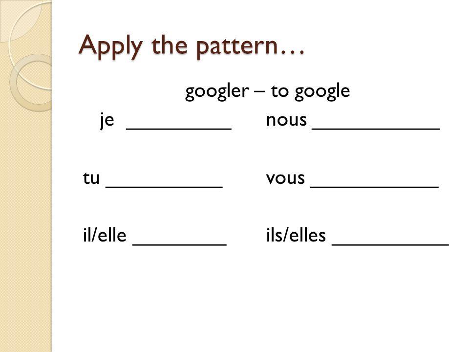 Apply the pattern… googler – to google je _________nous ___________ tu __________vous ___________ il/elle ________ils/elles __________