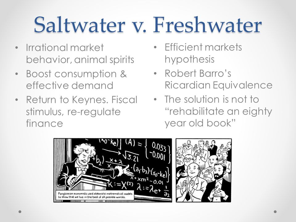 Saltwater v. Freshwater Efficient markets hypothesis Robert Barros Ricardian Equivalence The solution is not to rehabilitate an eighty year old book I