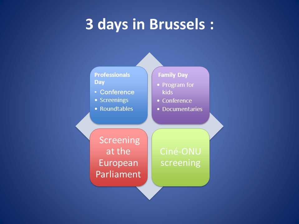 3 days in Brussels : Professionals Day Conference Screenings Roundtables Family Day Program for kids Conference Documentaries Screening at the European Parliament Ciné-ONU screening