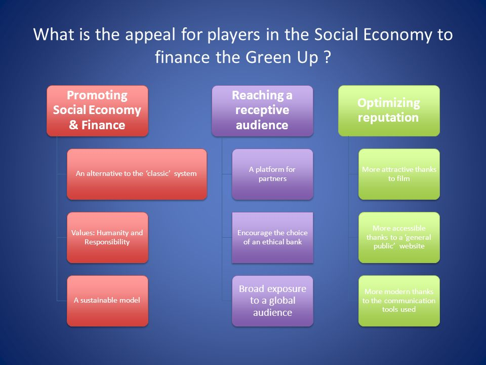 What is the appeal for players in the Social Economy to finance the Green Up .
