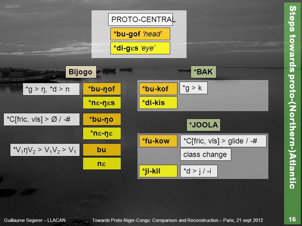 Steps towards proto-(Northern-)Atlantic Guillaume Segerer – LLACANTowards Proto-Niger-Congo: Comparison and Reconstruction – Paris, 21 sept 2012 16 PROTO-CENTRAL *g > ŋ, *d > n Bijogo*BAK *bu-gof head *g > k *V 1 ŋV 2 > V 1 V 2 > V 1 *C[fric, vls] > Ø / -# *bu-ŋof *bu-ŋo bu *bu-kof *fu-kow*C[fric, vls] > glide / -# *di-g ɛ s eye *n ɛ -ŋ ɛ s *n ɛ -ŋ ɛ *di-kis class change nɛnɛ *ji-kil *d > j / -i *JOOLA
