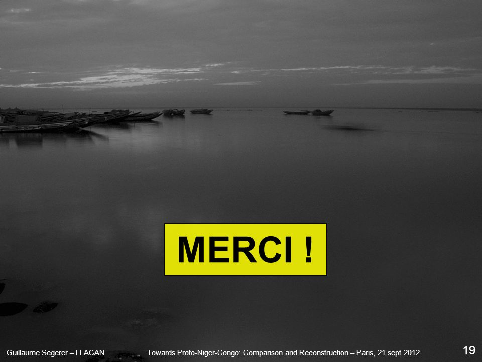 Guillaume Segerer – LLACANTowards Proto-Niger-Congo: Comparison and Reconstruction – Paris, 21 sept 2012 19 MERCI !