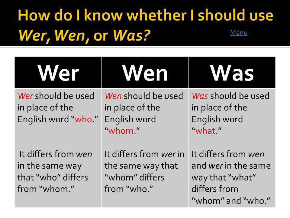 WerWenWas Wer should be used in place of the English word who.