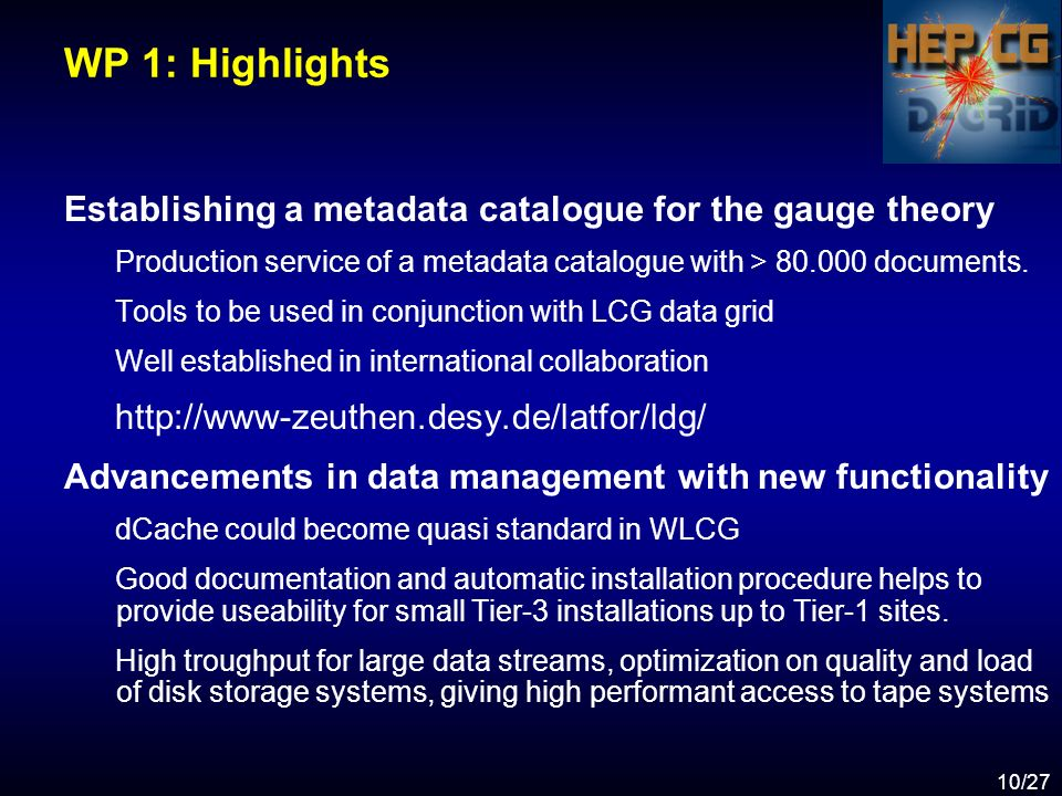 10/27 WP 1: Highlights Establishing a metadata catalogue for the gauge theory Production service of a metadata catalogue with > 80.000 documents.
