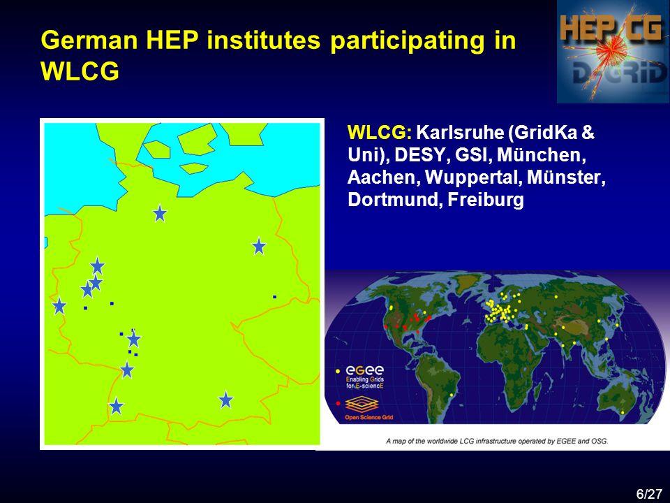 6/27 German HEP institutes participating in WLCG WLCG: Karlsruhe (GridKa & Uni), DESY, GSI, München, Aachen, Wuppertal, Münster, Dortmund, Freiburg