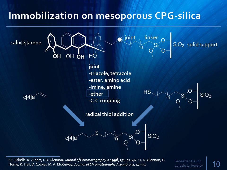 Immobilization on mesoporous CPG-silica 10 Sebastian Haupt Leipzig University calix[4]arene jointlinker solid support joint -triazole, tetrazole -ester, amino acid -imine, amine -ether -C-C coupling radical thiol addition 1 R.