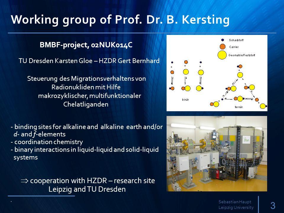 Working group of Prof.Dr. B. Kersting 3 Sebastian Haupt Leipzig University.