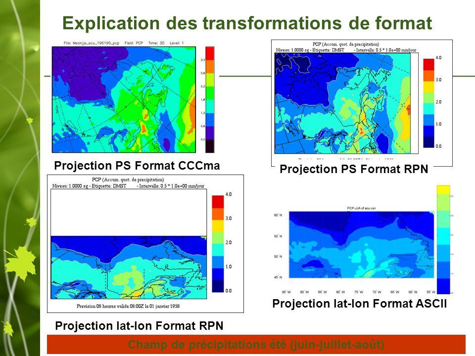 Projection PS Format CCCma Projection PS Format RPN Projection lat-lon Format RPN Projection lat-lon Format ASCII Champ de précipitations été (juin-juillet-août) Explication des transformations de format