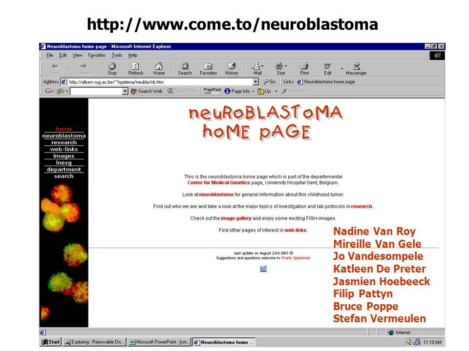 http://www.come.to/neuroblastoma Nadine Van Roy Mireille Van Gele Jo Vandesompele Katleen De Preter Jasmien Hoebeeck Filip Pattyn Bruce Poppe Stefan V