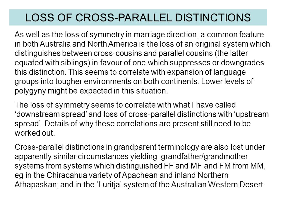 LOSS OF CROSS-PARALLEL DISTINCTIONS As well as the loss of symmetry in marriage direction, a common feature in both Australia and North America is the