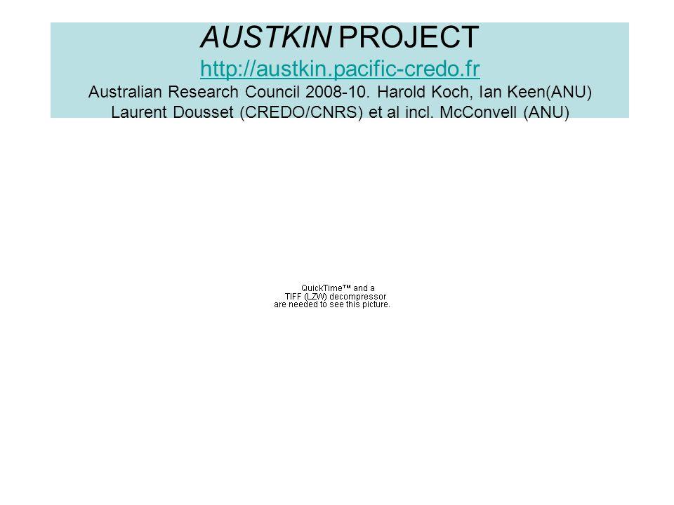 AUSTKIN PROJECT http://austkin.pacific-credo.fr Australian Research Council 2008-10. Harold Koch, Ian Keen(ANU) Laurent Dousset (CREDO/CNRS) et al inc