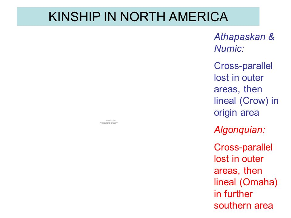 Athapaskan & Numic: Cross-parallel lost in outer areas, then lineal (Crow) in origin area Algonquian: Cross-parallel lost in outer areas, then lineal