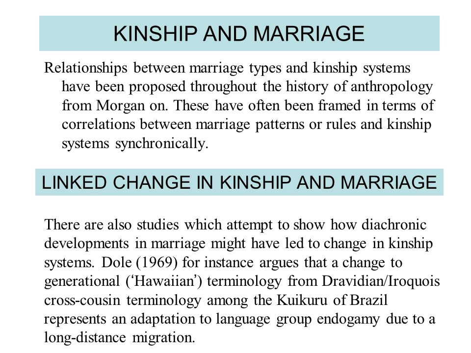 KINSHIP AND MARRIAGE Relationships between marriage types and kinship systems have been proposed throughout the history of anthropology from Morgan on