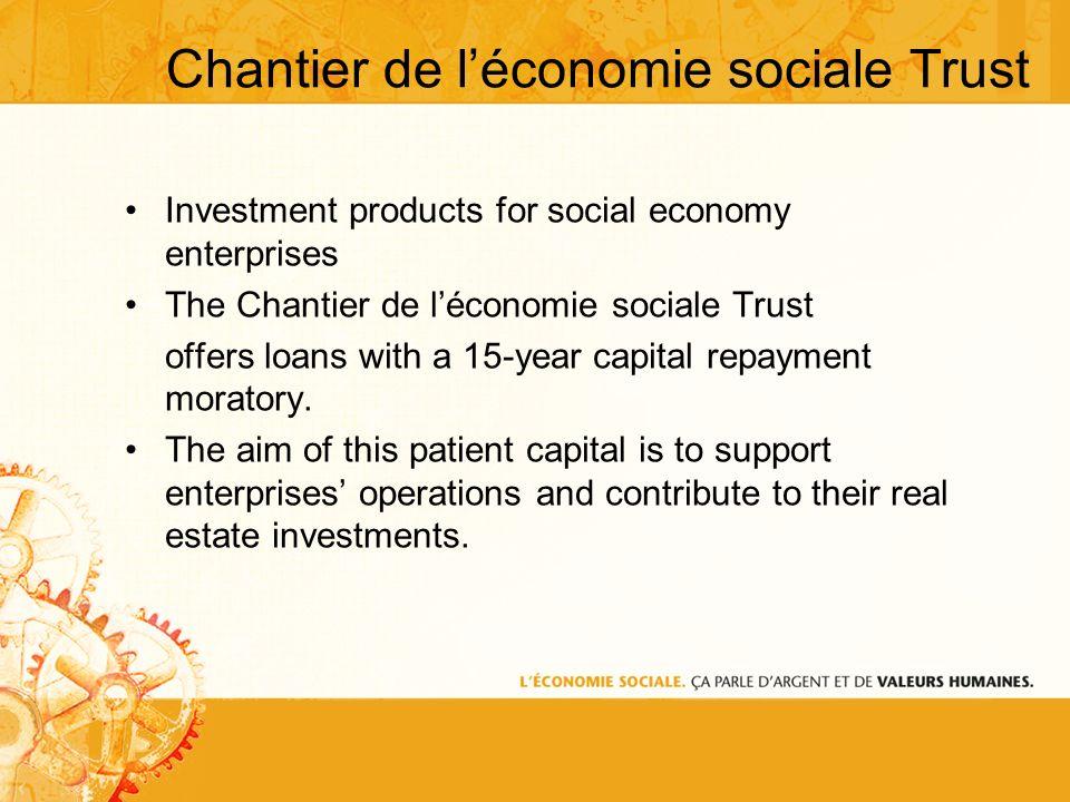 Chantier de léconomie sociale Trust Investment products for social economy enterprises The Chantier de léconomie sociale Trust offers loans with a 15-year capital repayment moratory.