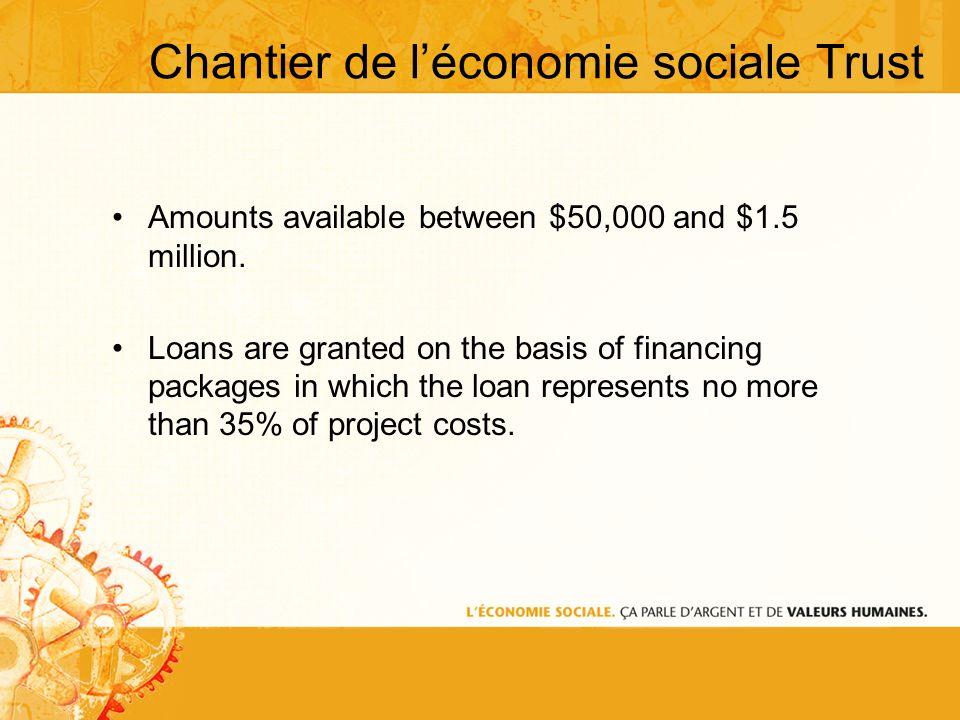 Chantier de léconomie sociale Trust Amounts available between $50,000 and $1.5 million.