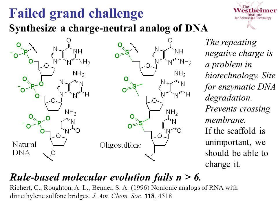 Rule-based molecular evolution fails n > 6. Richert, C., Roughton, A.