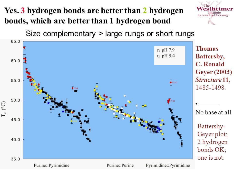 Yes. 3 hydrogen bonds are better than 2 hydrogen bonds, which are better than 1 hydrogen bond Thomas Battersby, C. Ronald Geyer (2003) Structure 11, 1