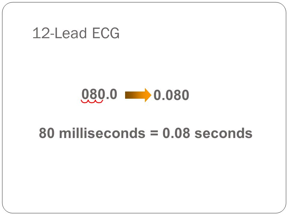 12-Lead ECG 80 milliseconds = 0.08 seconds 0.080 080.0