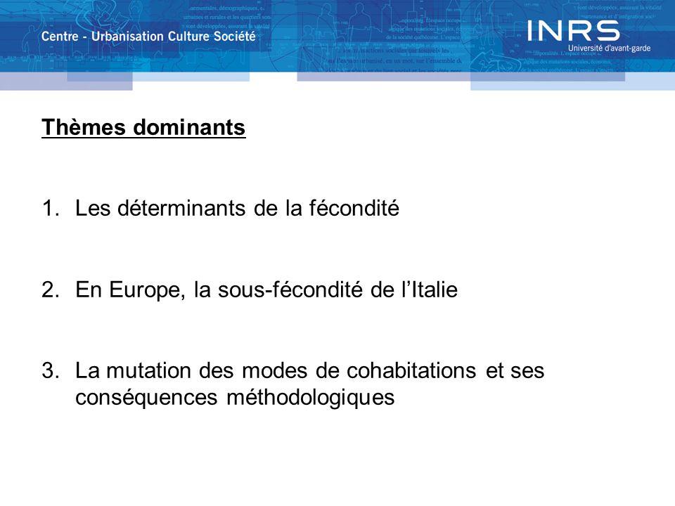 Thèmes dominants 1.Les déterminants de la fécondité 2.En Europe, la sous-fécondité de lItalie 3.La mutation des modes de cohabitations et ses conséque