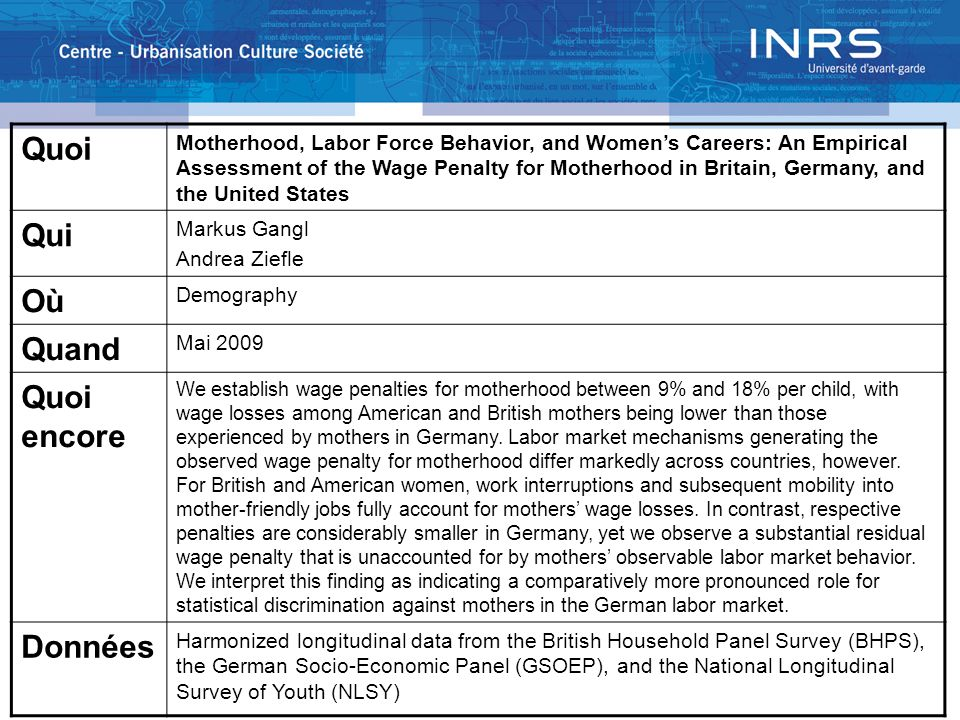 Quoi Motherhood, Labor Force Behavior, and Womens Careers: An Empirical Assessment of the Wage Penalty for Motherhood in Britain, Germany, and the Uni