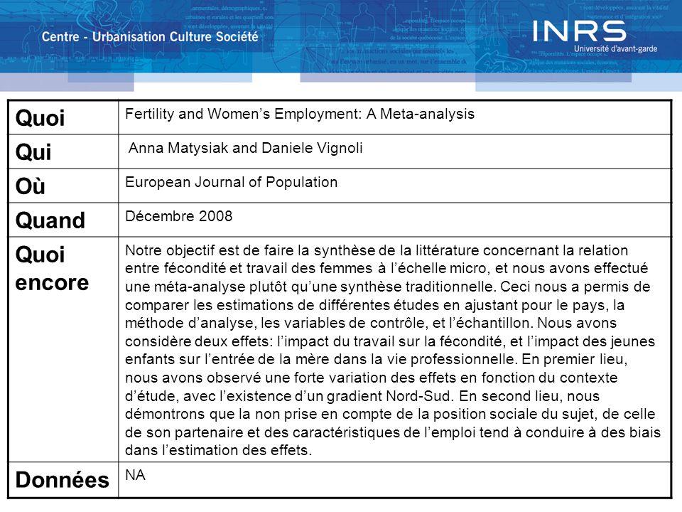 Quoi Fertility and Womens Employment: A Meta-analysis Qui Anna Matysiak and Daniele Vignoli Où European Journal of Population Quand Décembre 2008 Quoi