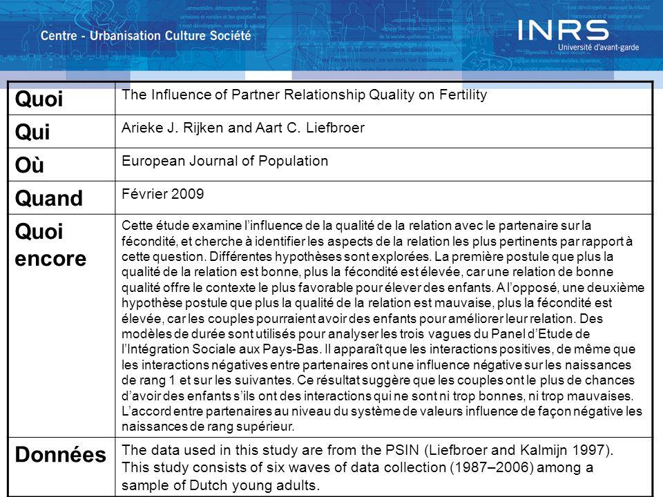 Quoi The Influence of Partner Relationship Quality on Fertility Qui Arieke J. Rijken and Aart C. Liefbroer Où European Journal of Population Quand Fév