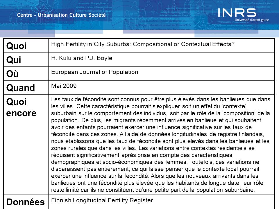 Quoi High Fertility in City Suburbs: Compositional or Contextual Effects? Qui H. Kulu and P.J. Boyle Où European Journal of Population Quand Mai 2009