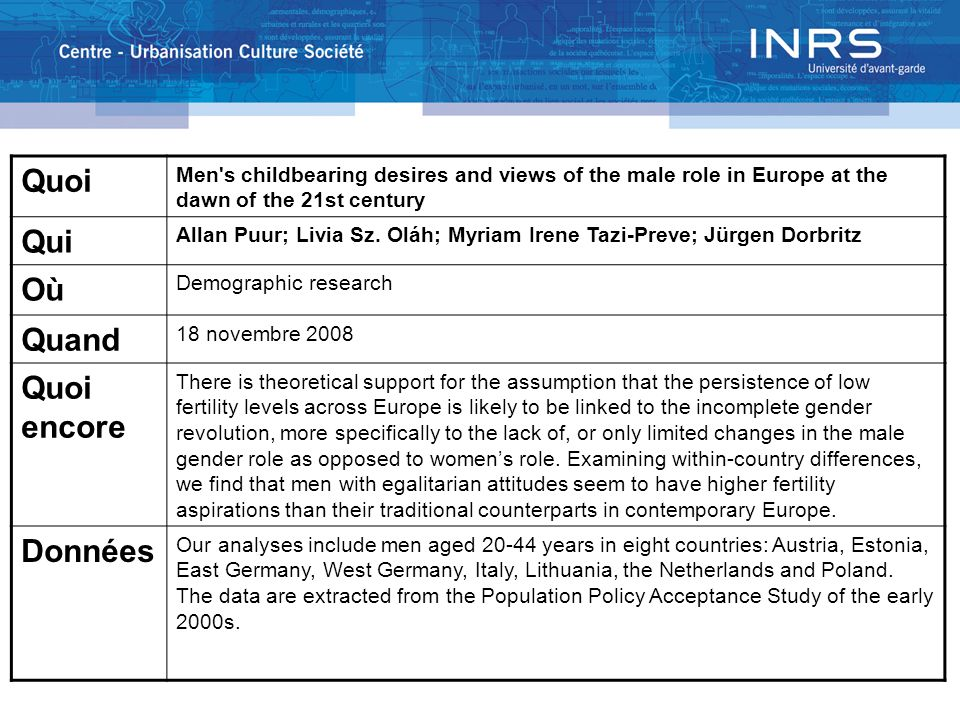 Quoi Men's childbearing desires and views of the male role in Europe at the dawn of the 21st century Qui Allan Puur; Livia Sz. Oláh; Myriam Irene Tazi