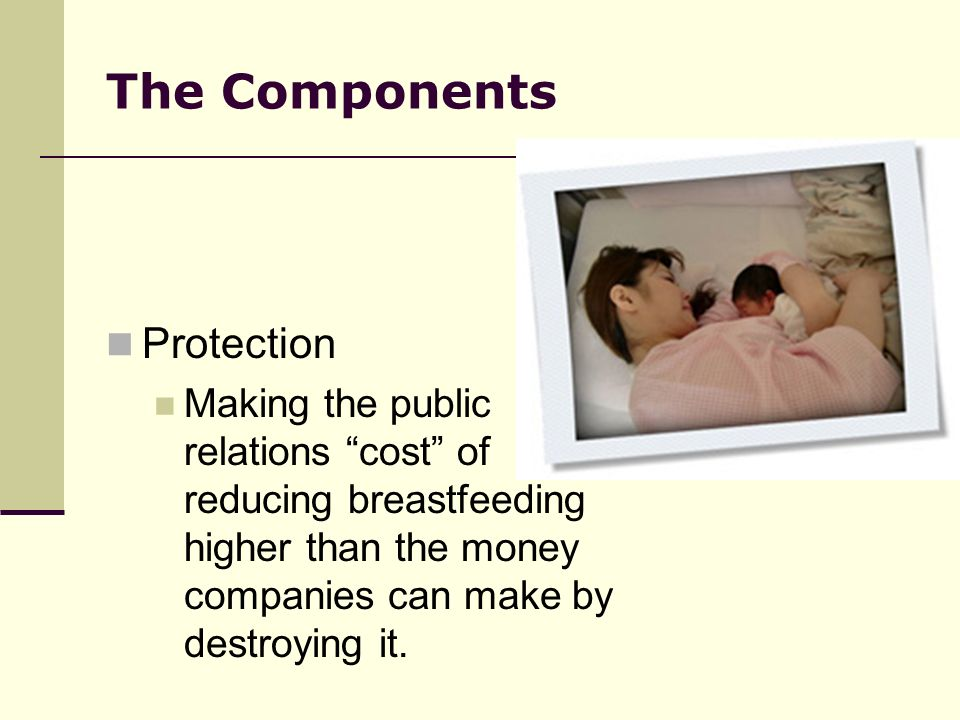 The Components Protection Making the public relations cost of reducing breastfeeding higher than the money companies can make by destroying it.