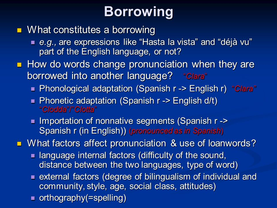 Borrowing What constitutes a borrowing What constitutes a borrowing e.g., are expressions like Hasta la vista and déjà vu part of the English language, or not.