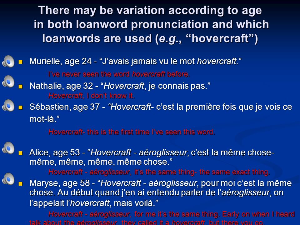 There may be variation according to age in both loanword pronunciation and which loanwords are used (e.g., hovercraft) Murielle, age 24 - Javais jamais vu le mot hovercraft.