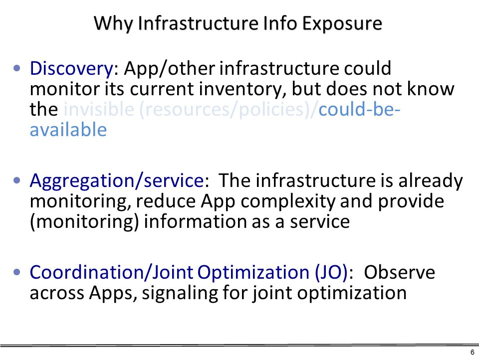 Why Infrastructure Info Exposure Discovery: App/other infrastructure could monitor its current inventory, but does not know the invisible (resources/p