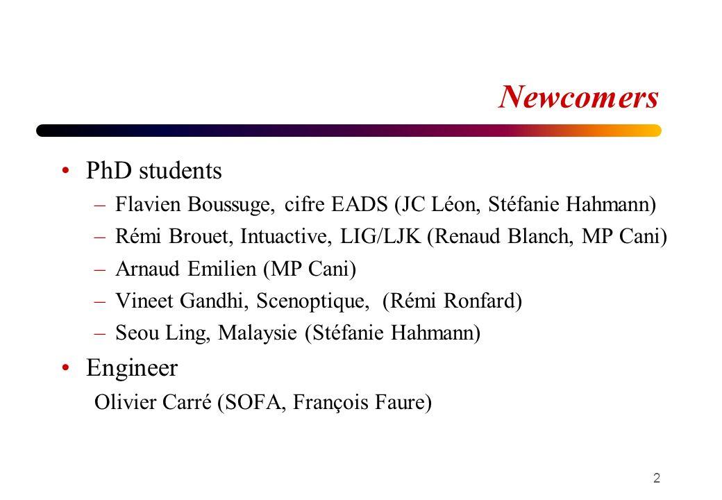 Newcomers PhD students –Flavien Boussuge, cifre EADS (JC Léon, Stéfanie Hahmann) –Rémi Brouet, Intuactive, LIG/LJK (Renaud Blanch, MP Cani) –Arnaud Emilien (MP Cani) –Vineet Gandhi, Scenoptique, (Rémi Ronfard) –Seou Ling, Malaysie (Stéfanie Hahmann) Engineer Olivier Carré (SOFA, François Faure) 2
