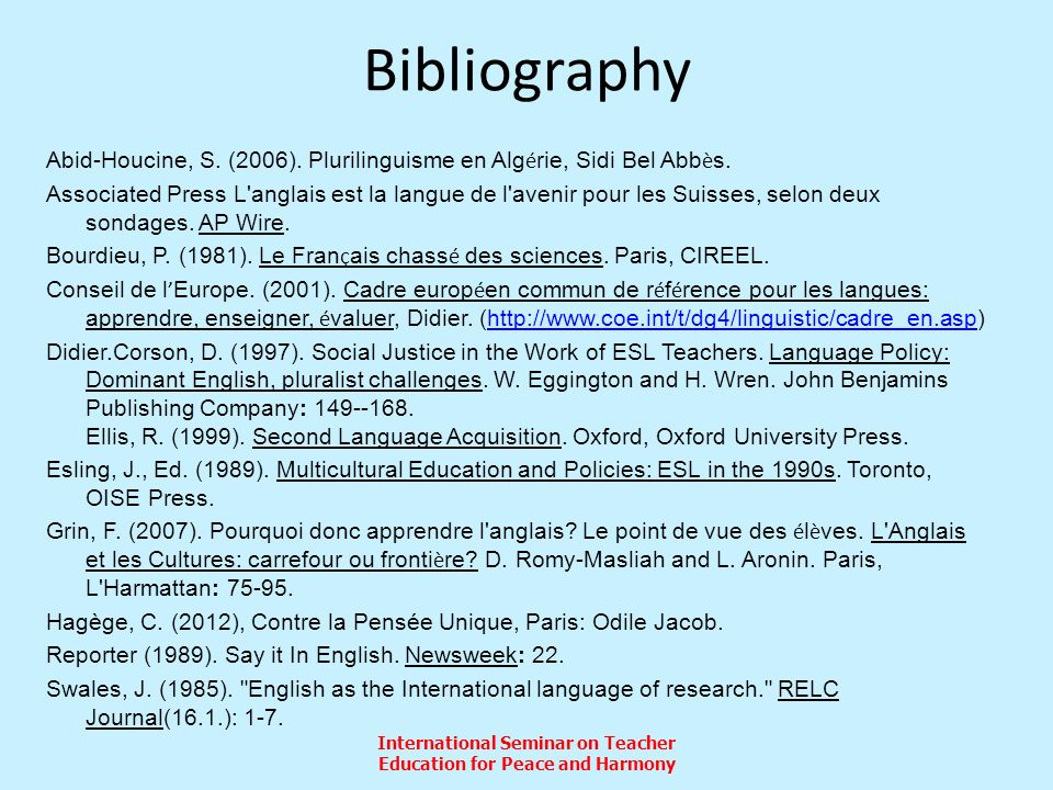 International Seminar on Teacher Education for Peace and Harmony Bibliography Abid-Houcine, S.