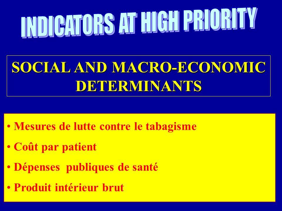 Mesures de lutte contre le tabagisme Coût par patient Dépenses publiques de santé Produit intérieur brut SOCIAL AND MACRO-ECONOMIC DETERMINANTS