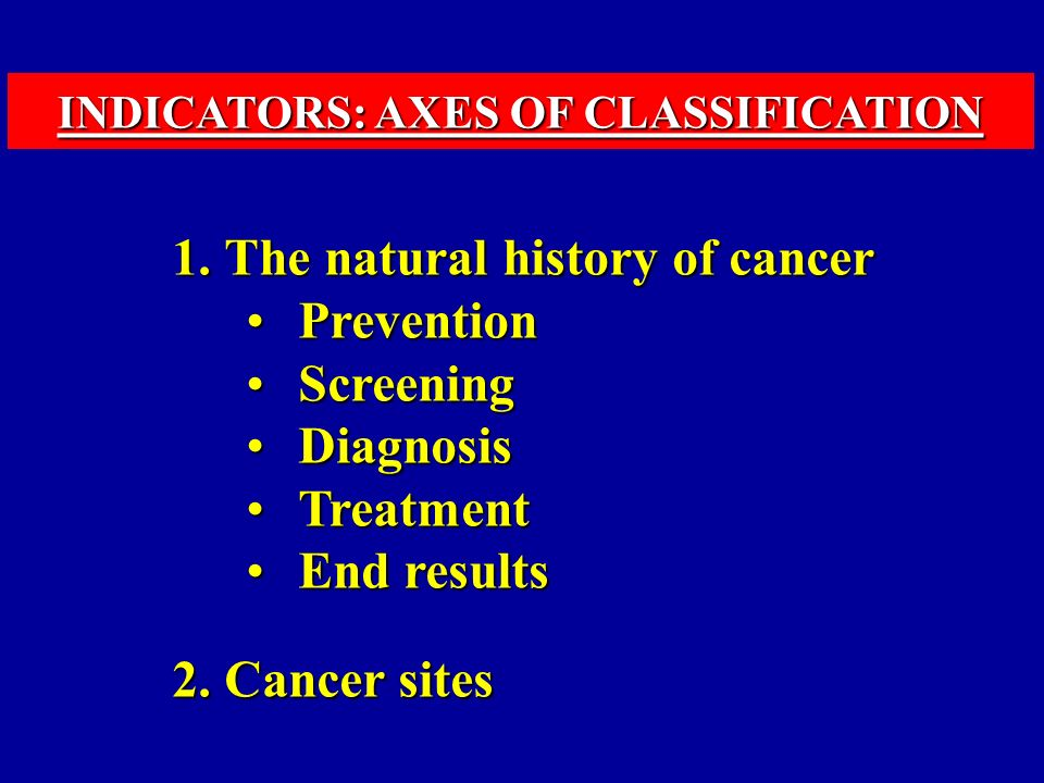 1.The natural history of cancer PreventionPrevention ScreeningScreening DiagnosisDiagnosis TreatmentTreatment End resultsEnd results 2.