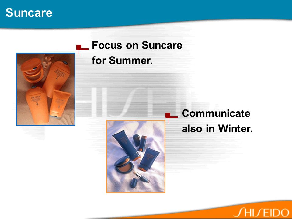 Focus on Suncare for Summer. Suncare Communicate also in Winter.