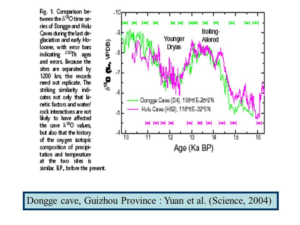 Dongge cave, Guizhou Province : Yuan et al. (Science, 2004)