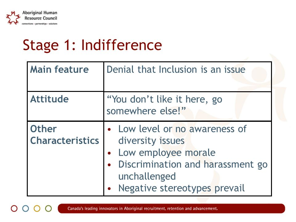 Stage 1: Indifference Main featureDenial that Inclusion is an issue Attitude You dont like it here, go somewhere else.