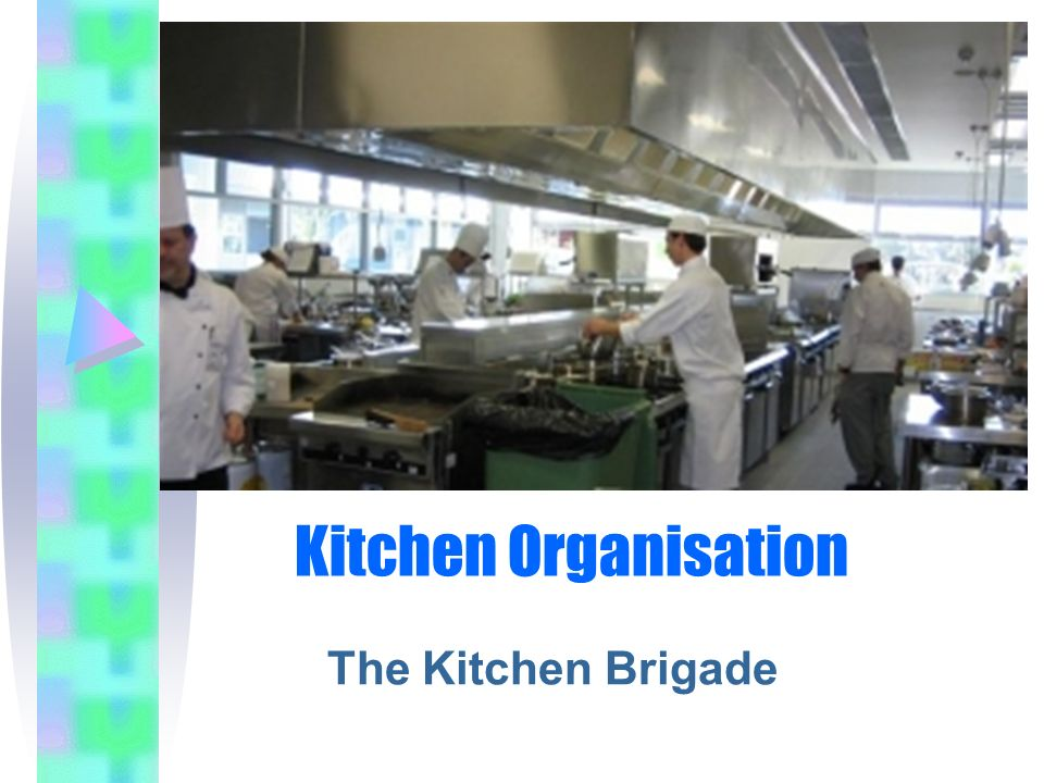 Kitchen Brigade The Kitchen Brigade is dictated by: size of the establishment its food and beverages on offer e.g.