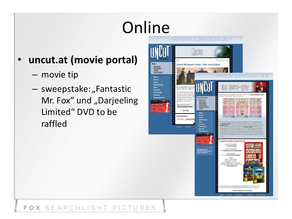 Online uncut.at (movie portal) – movie tip – sweepstake: Fantastic Mr. Fox und Darjeeling Limited DVD to be raffled