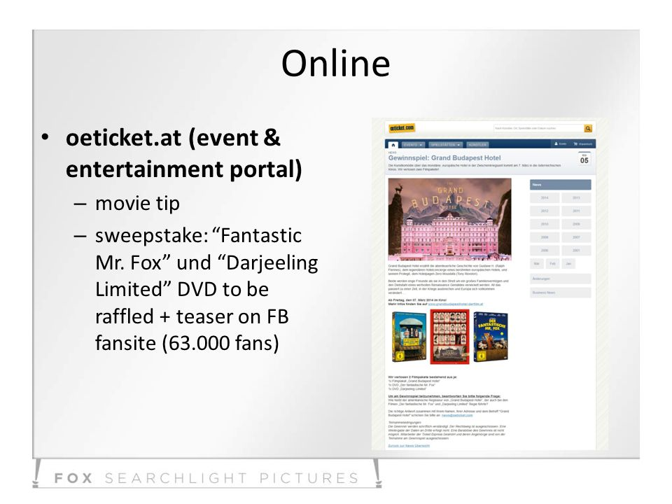 Online oeticket.at (event & entertainment portal) – movie tip – sweepstake: Fantastic Mr. Fox und Darjeeling Limited DVD to be raffled + teaser on FB