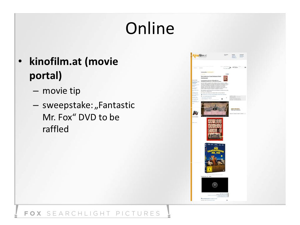 Online kinofilm.at (movie portal) – movie tip – sweepstake: Fantastic Mr. Fox DVD to be raffled
